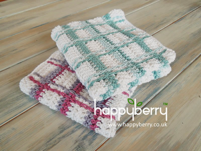 Crochet Tartan Plaid Wash Cloths