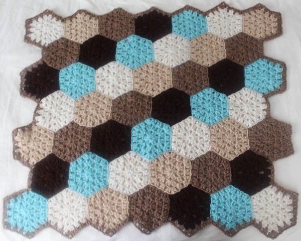 Hexagon Honeycomb Stroller Blanket Free Crochet Pattern