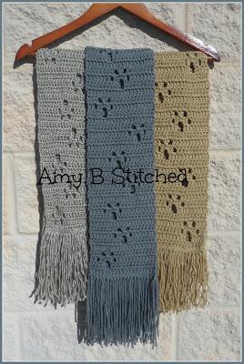 Meandering Paw Prints Free Crochet Scarf Pattern