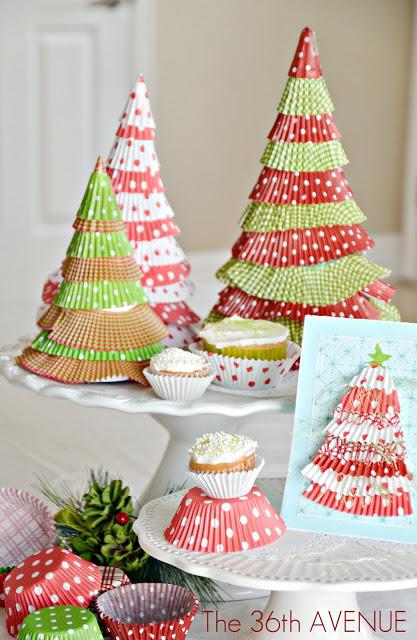 Make Cupcake Liner Christmas Trees