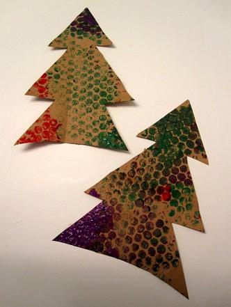 Bubble Wrap Christmas Tree Kids Craft