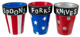 Patriotic BBQ Silverware Painted Pots