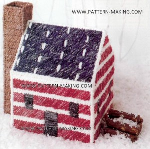 Red White and Blue Log Cabin Plastic Canvas Pattern