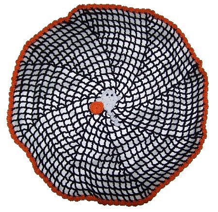 Halloween Spiral Spider Web Crochet Doily Pattern