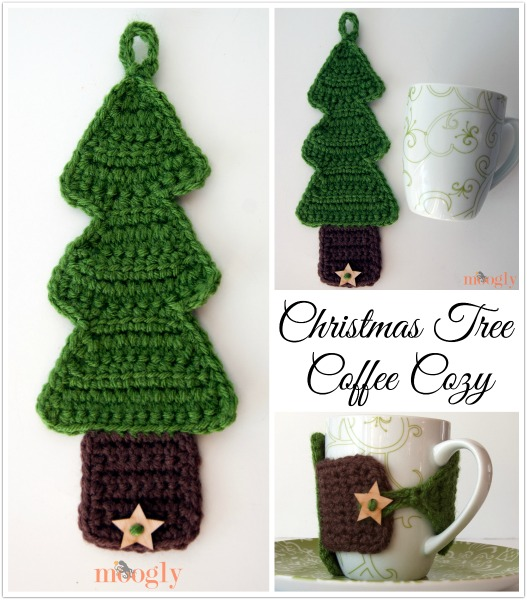 Christmas Tree Coffee Cozy Free Crochet Pattern