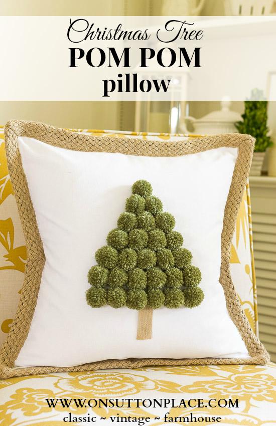 Christmas Tree Pom-Pom Pillow