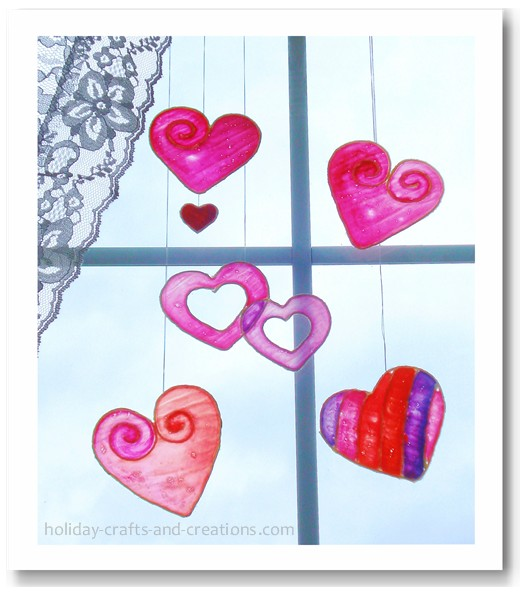 """""""Stained Glass"""" Hearts Kids Craft"""
