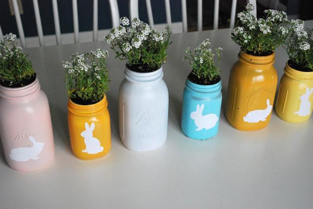 Easter Mason Jar Planters