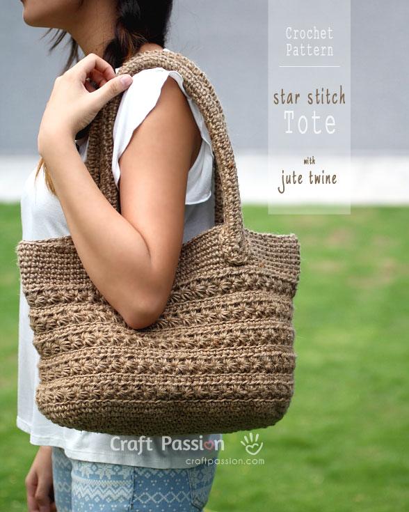 Jute Star Stitch Tote Crochet Pattern