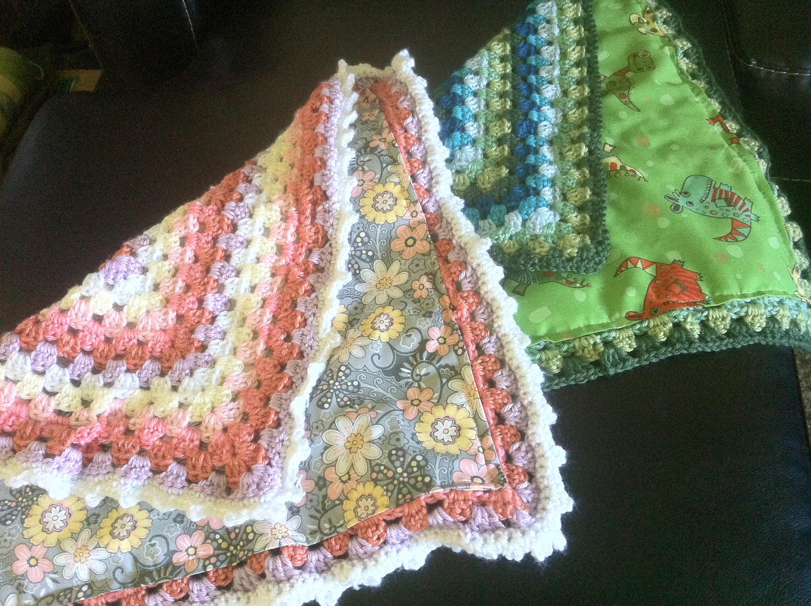 Lined Granny Square Baby Blanket Crochet Pattern