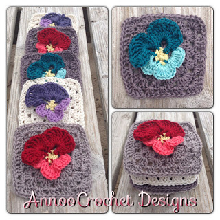 Pansy Flower Granny Square Free Crochet Pattern