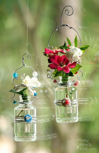 Hanging Beaded Glass Flower Vases