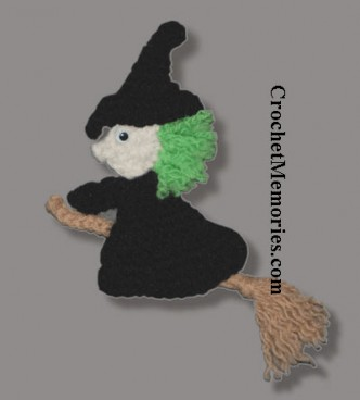 Flying Witch Fridgie Crochet Pattern