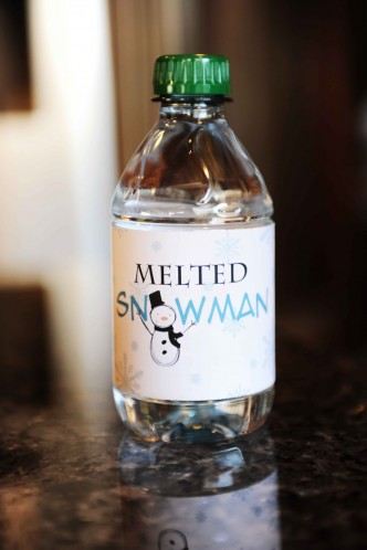 Free Melted Snowman Water Bottle Printable