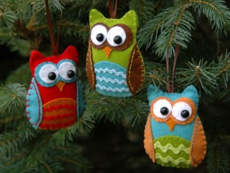 Felt Owl Christmas Ornaments Tutorial