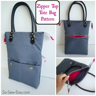 Zipper Top Tote Free Bag Pattern
