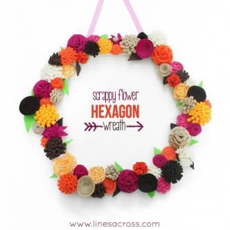 Scrappy Fall Flower Hexagon Wreath