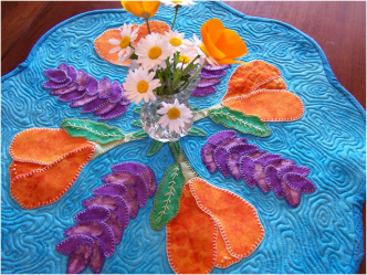 Quilted Spring Flower Table Mat