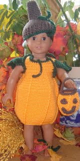 Doll Halloween Pumpkin Costume