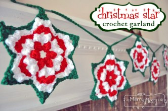 Crochet Christmas Star Granny Garland Free Pattern
