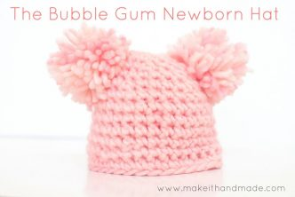 Easy Bubble Gum Crochet Newborn Hat Pattern