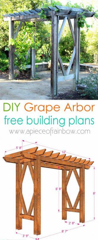DIY Grape Arbor with Free Building Plan