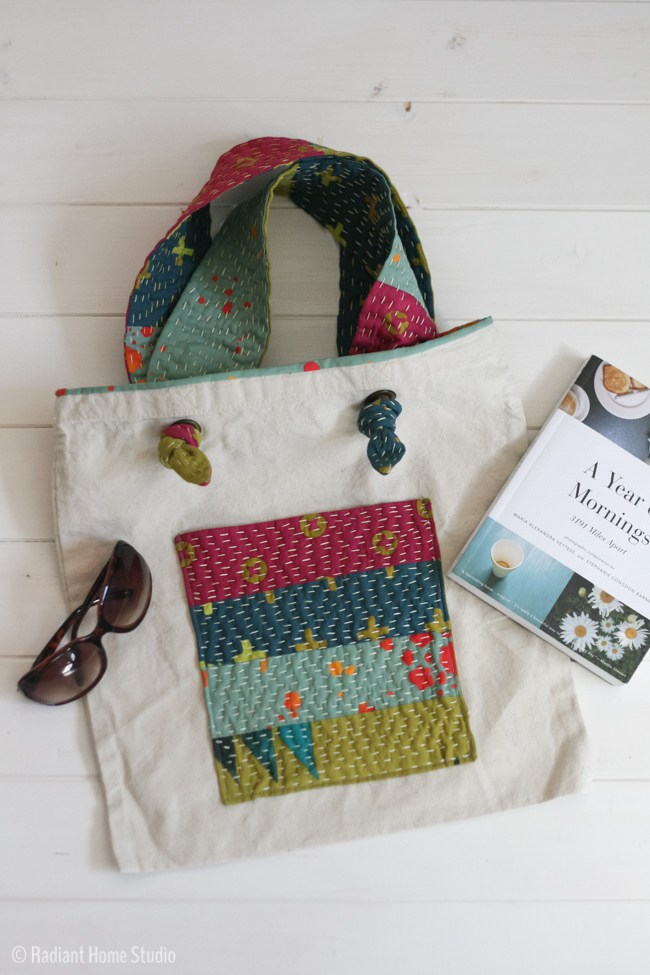 Add a Kantha Stitch Pocket to a Tote Bag
